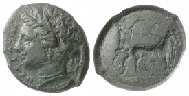 Sicily, Messana, 317-311 BC. Æ (26mm, 9.69g, 11h). Head of the nymph Messana l.; trident behind. R/ Biga of mules standing r., driven by Messana holdi...