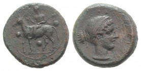 Sicily, Nakona, c. 410-405 BC. Æ Tetras or Trionkion (17mm, 4.14g, 3h). Silenos, holding thyrsos and kantharos, seated on donkey l.; three pellets aro...