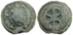 Anonymous, Rome, c. 230 BC. Cast Æ Sextans (34mm, 39.62g). Tortoise on a raised disk. R/ Wheel of six spokes on a raised disk. Vecchi, ICC 71; Crawfor...