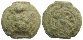 Anonymous, Rome, c. 230 BC. Cast Æ Sextans (32mm, 41.33g). Tortoise on a raised disk. R/ Wheel of six spokes on a raised disk. Vecchi, ICC 71; Crawfor...