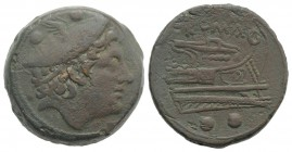 Anonymous, Rome, 217-215 BC. Æ Sextans (29mm, 27.74g, 3h). Head of Mercury r., wearing winged petasus. R/ Prow r. Crawford 38/5; RBW 96-7. VF