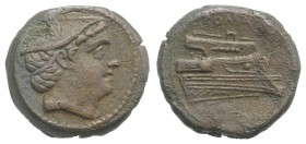Anonymous, Rome, 217-215 BC. Æ Semuncia (21mm, 6.45g, 12h). Head of Mercury r., wearing winged petasus. R/ Prow r. Crawford 38/7; RBW 100. Brown patin...