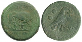 Anonymous, Rome, c. 217-215 BC. Æ Sextans (29mm, 27.88g, 6h). She-wolf standing r., head l., suckling the twins. R/ Eagle standing r., holding flower ...