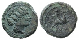 Anonymous, Rome, 217-215 BC. Æ Semuncia (19mm, 4.64g, 2h). Draped female bust r., wearing mural crown. R/ Horseman r. on galloping horse, holding whip...
