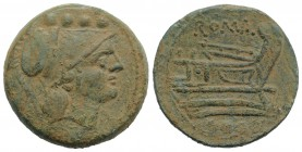 Anonymous, Rome, c. 215-212 BC. Æ Triens (29mm, 19.74g, 11h). Helmeted head of Minerva r. R/ Prow r. Crawford 41/7b; RBW 126. Green patina, Good VF