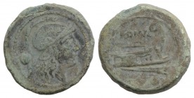 Anonymous, Rome, c. 215-212 BC. Æ Uncia (22mm, 6.98g, 12h). Helmeted head of Roma r. R/ Prow of galley r. Crawford 41/10; RBW 135. Green patina, Good ...