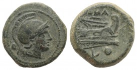 L series, Luceria, c. 214-212 BC. Æ Uncia (19mm, 6.55g, 3h). Helmeted head of Roma r. R/ Prow right; L and pellet below. Crawford 43/5; RBW 156. Green...