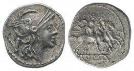 Anonymous, Rome, 211-208 BC. AR Quinarius (14mm, 1.78g, 6h). Helmeted head of Roma r. R/ Dioscuri on horseback riding r., each holding transverse spea...
