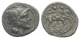 Anonymous, Rome, 211-208 BC. AR Quinarius (14mm, 1.80g, 6h). Helmeted head of Roma r. R/ Dioscuri on horseback riding r., each holding transverse spea...