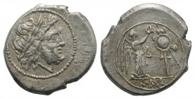 Anonymous, Rome, after 211 BC. AR Victoriatus (18mm, 3.46g, 8h). Laureate head of Jupiter r. R/ Victory standing r., crowning trophy. Crawford 53/1; R...