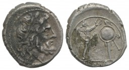 Anonymous, Rome, after 211 BC. AR Victoriatus (16mm, 2.78g, 1h). Laureate head of Jupiter r. R/ Victory standing r., crowning trophy. Crawford 53/1; R...