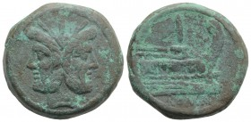 Anonymous, Rome, after 211 BC. Æ As (34.5mm, 44.18g, 6h). Laureate head of Janus. R/ Prow of galley r. Crawford 56/2; RBW 200-2. Green patina, VF