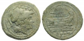 Anonymous, Rome, after 211 BC. Æ Triens (27mm, 13.96g, 1h). Helmeted head of Minerva r. R/ Prow of galley r. Crawford 56/4; RBW 206. Green patina, VF ...