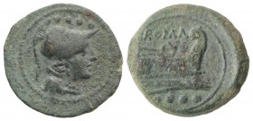 Anonymous, Rome, after 211 BC. Æ Triens (23mm, 8.01g, 6h). Helmeted head of Minerva r. R/ Prow of galley r. Crawford 56/4; RBW 206. Green patina, VF