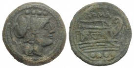 Anonymous, Rome, after 211 BC. Æ Triens (25mm, 11.35g, 6h). Helmeted head of Minerva r. R/ Prow of galley r. Crawford 56/4; RBW 206. Green patina, nea...
