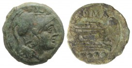 Anonymous, Sardinia, after 211 BC. Æ Triens (23mm, 6.86g, 11h). Helmeted head of Minerva r. R/ Prow of galley r. Crawford 56/4; RBW 207-8. Green patin...