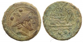 Anonymous, Rome, after 211 BC. Æ Sextans (25mm, 10.82g, 1h). Head of Mercury r. wearing winged petasus. R/ Prow of galley r. Crawford 56/6; RBW 212. G...