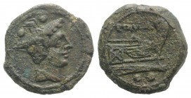 Anonymous, Sardinia, after 211 BC. Æ Sextans (18mm, 4.73g, 11h). Head of Mercury r. wearing winged petasus. R/ Prow of galley r. Crawford 56/6; RBW 21...