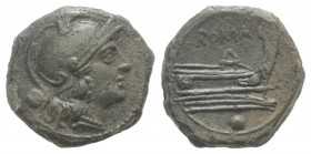 Anonymous, Rome, after 211 BC. Æ Uncia (16mm, 3.69g, 3h). Helmeted head of Roma r. R/ Prow of galley r. Crawford 56/7; RBW 215. Near EF