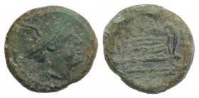 Anonymous, Rome, after 211 BC. Æ Semuncia (13mm, 2.08g, 11h). Head of Mercury r., wearing winged petasus. R/ Prow r. Crawford 56/8; RBW 216. Green pat...