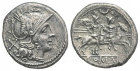 Crescent series, Rome, 207 BC. AR Denarius (19mm, 4.08g, 9h). Helmeted head of Roma r. R/ Dioscuri on horseback riding r.; crescent between the riders...