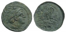 MA series, Sardinia, 210 BC. Æ Sextans (19mm, 4.40g, 3h). Head of Mercury r. wearing winged petasos. R/ Prow of galley r.; MA monogram before. Crawfor...