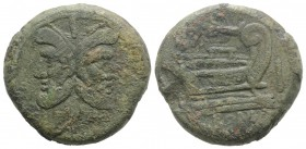 Branch series, Sicily, 209-208 BC. Æ As (36.5mm, 48.23g, 12h). Laureate head of bearded Janus; I above. R/ Prow of galley r.; I to r., laurel branch a...