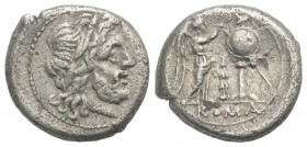 Club series, Southeast Italy, 208 BC. AR Victoriatus (16mm, 2.65g, 6h). Laureate head of Jupiter r. R/ Victory standing r., crowning trophy with wreat...