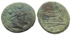 Anonymous, Luceria, 211-208 BC. Æ Sextans (25mm, 9.95g, 11h). Draped bust of Hermes r., wearing petasus. R/ Prow r.; below, L between two pellets. Cra...