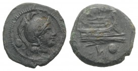 Anonymous, Luceria, 211-208 BC. Æ Uncia (16mm, 3.20g, 1h). Helmeted head of Roma r. R/ Prow right; L and pellet below. Crawford 97/15; RBW 410. Rare, ...