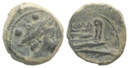 Anonymous, Canusium, 209-208 BC. Æ Sextans (16mm, 4.79g, 7h). Head of Mercury r. wearing winged petasus. R/ Prow of galley r. Crawford 100/5; RBW -. E...