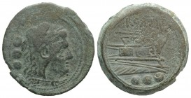 Staff and club series, Etruria (?), 208 BC. Æ Quadrans (29mm, 17.28g, 12h). Head of Hercules r., wearing lion's skin. R/ Prow of galley r.; horizontal...