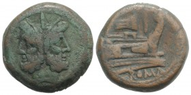 Rostrum tridens series, Rome, 206-195 BC. Æ As (34.5mm, 34.03g, 6h). Laureate head of bearded Janus; I above. R/ Prow of galley r.; rostrum tridens an...