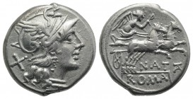 Pinarius Natta, Rome, 155 BC. AR Denarius (17mm, 3.92g, 11h). Head of Roma r. R/ Victory driving galloping biga r., holding whip and reins; NAT below....