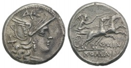 C. Maianius, Rome, 153 BC. AR Denarius (18mm, 3.78g, 5h). Helmeted head of Roma r. R/ Victory driving biga r., holding reins and whip. Crawford 203/1a...