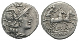 L. Saufeius, Rome, 152 BC. AR Denarius (16mm, 3.75g, 3h). Helmeted head of Roma r. R/ Victory, holding reins and whip, driving galloping biga r. Crawf...