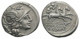 L. Saufeius, Rome, 152 BC. AR Denarius (18mm, 4.00g, 6h). Helmeted head of Roma r. R/ Victory, holding reins and whip, driving galloping biga r. Crawf...