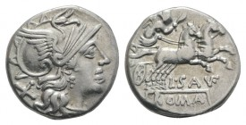 L. Saufeius, Rome, 152 BC. AR Denarius (15.5mm, 3.12g, 6h). Helmeted head of Roma r. R/ Victory, holding reins and whip, driving galloping biga r. Cra...