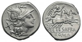 Spurius Afranius, Rome, 150 BC. AR Denarius (18mm, 3.80g, 5h). Helmeted head of Roma r. R/ Victory driving biga r., holding whip and reins. Crawford 2...