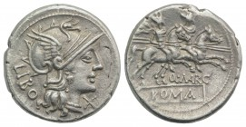Q. Marcius Libo, Rome, 148 BC. AR Denarius (20mm, 3.91g, 2h). Helmeted head of Roma r. R/ Dioscuri riding r. with couched lances, stars above their he...