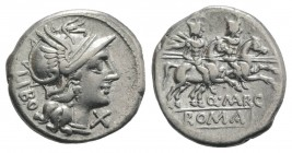 Q. Marcius Libo, Rome, 148 BC. AR Denarius (19mm, 3.83g, 10h). Helmeted head of Roma r. R/ Dioscuri riding r. with couched lances, stars above their h...