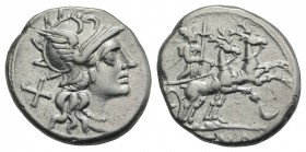 Anonymous, Rome, 143 BC. AR Denarius (18mm, 3.87g, 3h). Helmeted head of Roma r. R/ Diana, holding torch, driving biga of stags r.; crescent below. Cr...