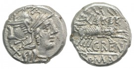 C. Renius, Rome, 138 BC. AR Denarius (16mm, 3.84g, 11h). Helmeted head of Roma r. R/ Juno Caprotina driving biga of goats r., holding whip, reins, and...
