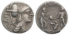 Ti. Veturius, Rome, 137 BC. AR Denarius (18mm, 3.66g, 5h). Helmeted and draped bust of Mars r. R/ Oath-taking scene: youth kneeling l., head r., betwe...