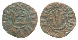 Crusaders, Duchy of Athens. Guillaume de la Roche (1280-1287). BI Obol, perhaps minted during the Minority of Gui II (13mm, 0.40g, 10h). G DVX ATENES,...