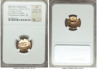 BRITAIN. Atrebates. Tincomarus (ca. 30 BC-AD 10). AV stater (17mm, 5.37 gm, 6h). NGC VF 4/5 - 3/5. F•COM•F raised on incuse tablet / Warrior on horseb...