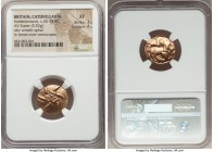 BRITAIN. Catuvellauni. Addedomaros (ca. 45-25 BC). AV stater (18mm, 5.52 gm, 5h). NGC XF 3/5 - 4/5. Six-armed spiral of wreaths / Celticized horse rig...