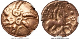 BRITAIN. Catuvellauni. Addedomaros (ca. 45-25 BC). AV stater (18mm, 5.54 gm, 1h). NGC Choice VF 5/5 - 4/5. Six-armed spiral of wreaths / Celticized ho...