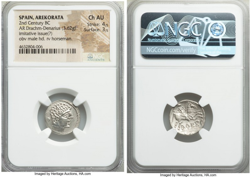 IBERIA. Arekorata. 2nd century BC. AR denarius (18mm, 3.62 gm, 11h). NGC Choice ...