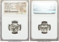 PUNIC SPAIN. Carthago Nova. Carthaginian Occupation, Time of Hannibal. Ca. 237-209 BC. AR shekel (21mm, 7.21 gm, 12h). NGC Choice VF 5/5 - 2/5. Cartha...